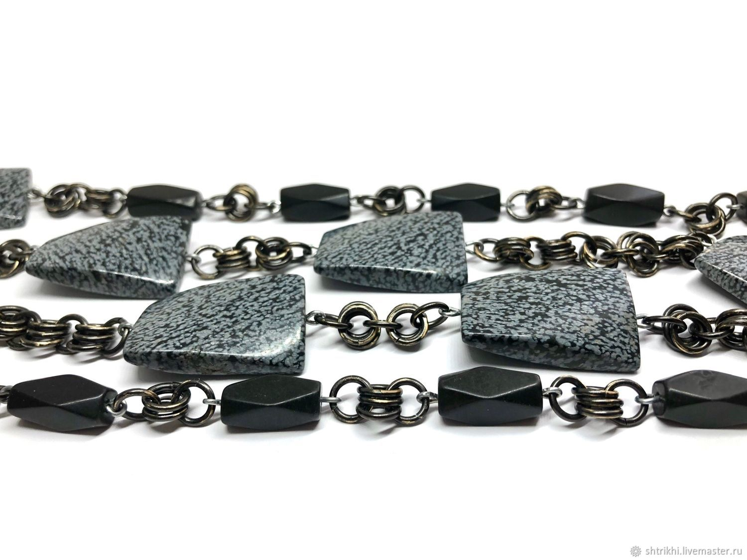 The long beads of Snow obsidian natural, metal accessories USA, Necklace, Moscow,  Фото №1