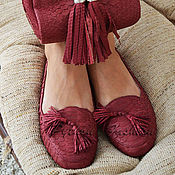 Обувь ручной работы handmade. Livemaster - original item AVAILABLE-Python Loafers in Bordeaux color. Handmade.