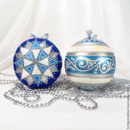 Новогодний ёлочный шар,ёлочное украшение,новогодний сувенир,подарок на новый год. 1 Продан! синий с 3 большими звёздами. 2  голубой с серебром и орнаментом.