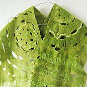 Аксессуары ручной работы. Ярмарка Мастеров - ручная работа Шарф валяный Просто зеленый. Handmade.
