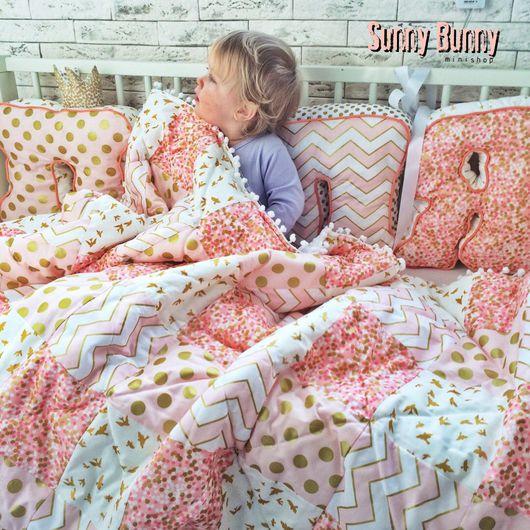 Детская ручной работы. Ярмарка Мастеров - ручная работа. Купить Лоскутное одеяло , цвет персиковый!. Handmade. Лоскутное одеяло, минки