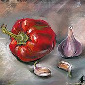 Картины и панно handmade. Livemaster - original item Pepper and garlic. Handmade.