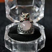 Украшения handmade. Livemaster - original item Silver ring with pink agate Jaguar. Handmade.