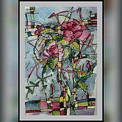 """Картины и панно ручной работы. Ярмарка Мастеров - ручная работа Картина  на рисовой бумаге """" Розовый ноктюрн """". Handmade."""