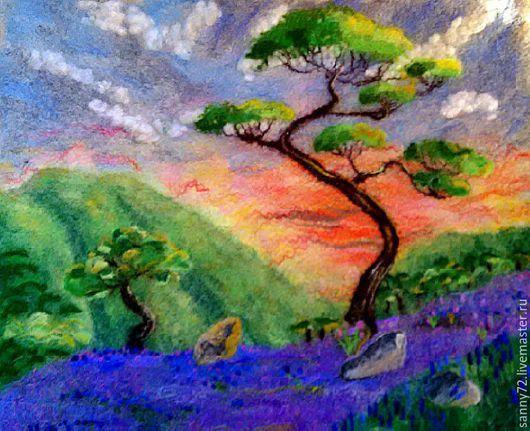 """Пейзаж ручной работы. Ярмарка Мастеров - ручная работа. Купить Войлочная картина """"Закат"""". Handmade. Разноцветный, сакура"""