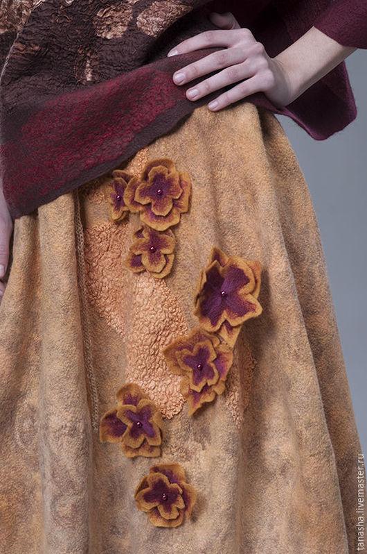 """Юбки ручной работы. Ярмарка Мастеров - ручная работа. Купить Валяная юбка """"Солнечная"""" ,бочонок. Handmade. Валяная юбка, двусторонняя"""