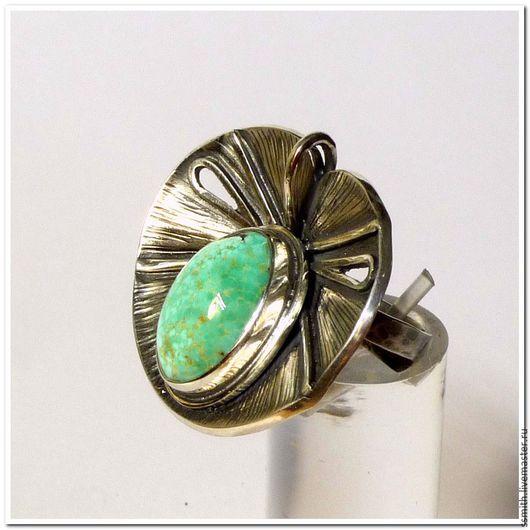 Кольца ручной работы. Ярмарка Мастеров - ручная работа. Купить Кольцо серебряное с натуральной бирюзой 15. Handmade. Бирюза