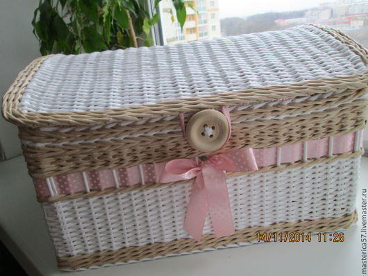Плетенный сундучок  в стиле шебби  размер 43 *34*25 см