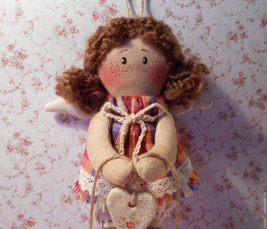 Коллекционные куклы ручной работы. Ярмарка Мастеров - ручная работа. Купить Ангелок-ребенок. Хранитель дома (шатенка). Handmade. примитивы
