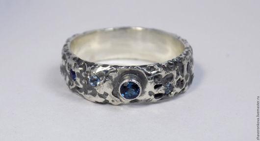 """Кольца ручной работы. Ярмарка Мастеров - ручная работа. Купить Кольцо """"Море"""".. Handmade. Тёмно-синий, голубой топаз"""