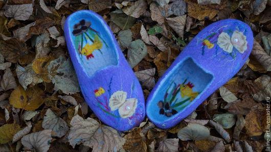 """Обувь ручной работы. Ярмарка Мастеров - ручная работа. Купить Валяные тапочки""""Сокровища океана"""". Handmade. Сиреневый, море-море"""