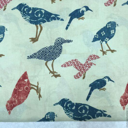 """Шитье ручной работы. Ярмарка Мастеров - ручная работа. Купить Ткань """"Summerland"""". Handmade. Тёмно-синий, хлопок, ткань с птицами"""