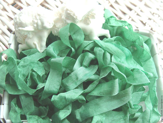 Открытки и скрапбукинг ручной работы. Ярмарка Мастеров - ручная работа. Купить Шебби-лента Зеленая трава. Handmade. Зеленый