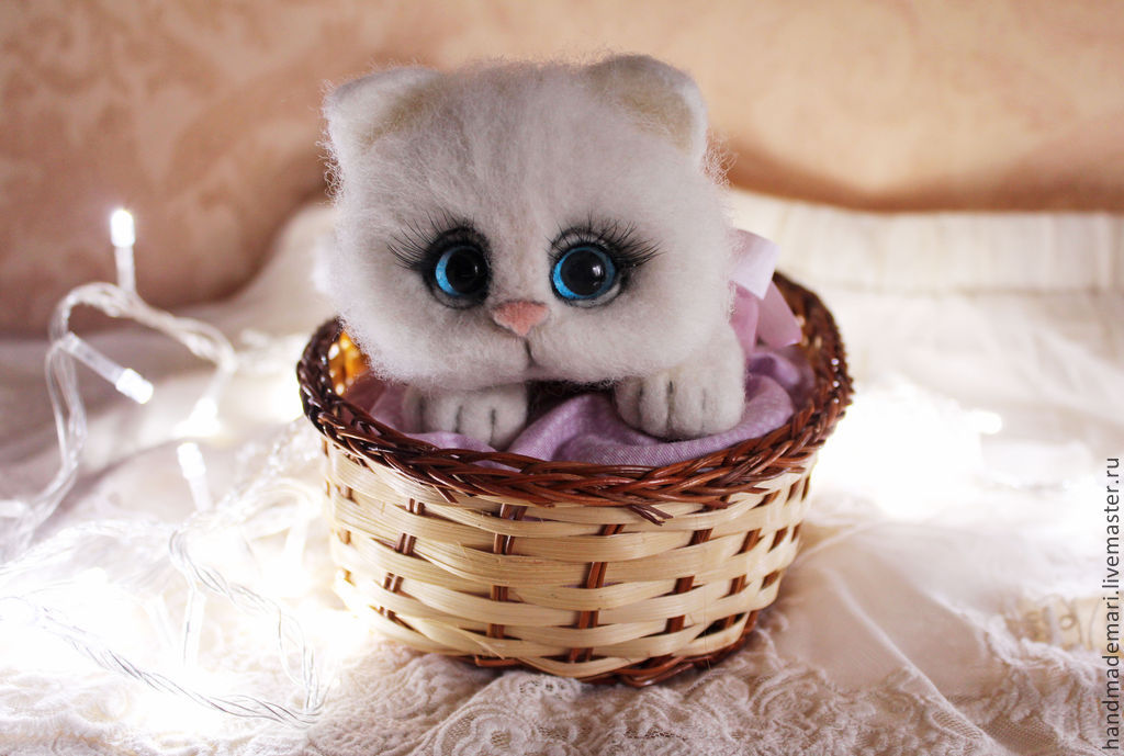 Fluffy cat in a basket toy from wool, Felted Toy, Moscow,  Фото №1