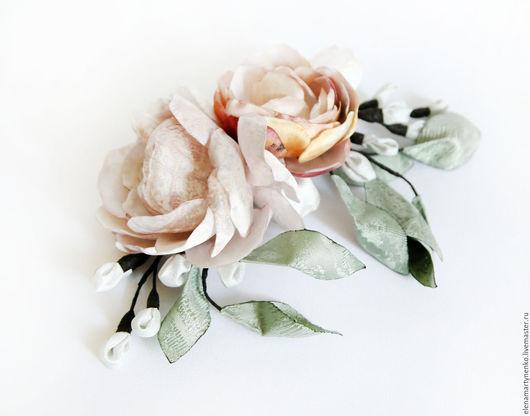 """Диадемы, обручи ручной работы. Ярмарка Мастеров - ручная работа. Купить Гребень с цветами """"Суиин"""". Handmade. Комбинированный, цветы из ткани"""