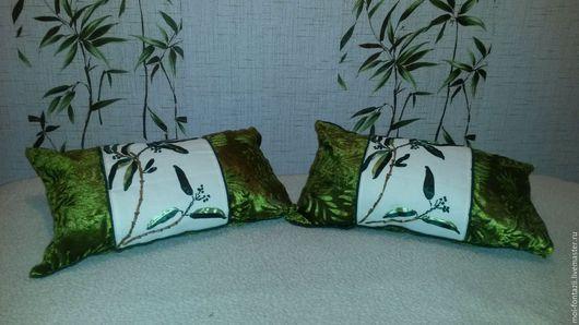 """Текстиль, ковры ручной работы. Ярмарка Мастеров - ручная работа. Купить Декоративная подушка """"Бамбук"""". Handmade. Ярко-зелёный"""
