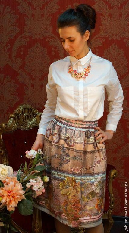 Юбки ручной работы. Ярмарка Мастеров - ручная работа. Купить юбка из хлопкового жаккарда. Handmade. Розовый, дизайнерская юбка