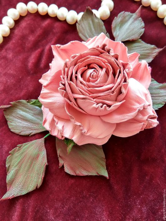 """Броши ручной работы. Ярмарка Мастеров - ручная работа. Купить Роза из кожи """"Нежная"""". Handmade. Бледно-розовый, розовая кожа"""