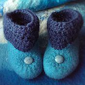 """Обувь ручной работы. Ярмарка Мастеров - ручная работа Пинетки валяные """"Голубика"""". Handmade."""