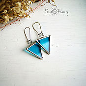 Украшения handmade. Livemaster - original item Triangular earrings on long swense (honey steel). Handmade.