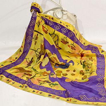 Аксессуары ручной работы. Ярмарка Мастеров - ручная работа шелковый платок батик Саванна. Handmade.