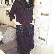 """Одежда ручной работы. Ярмарка Мастеров - ручная работа Платье трикотажное """" Кони """"+ шарф. Handmade."""