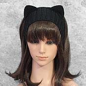 Аксессуары handmade. Livemaster - original item Headband with Cat ears knitted hair Black. Handmade.