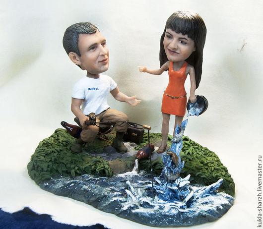 Подарки для влюбленных ручной работы. Ярмарка Мастеров - ручная работа. Купить Статуэтка кукла-шарж по фото паре«опять рыбылка». Handmade.