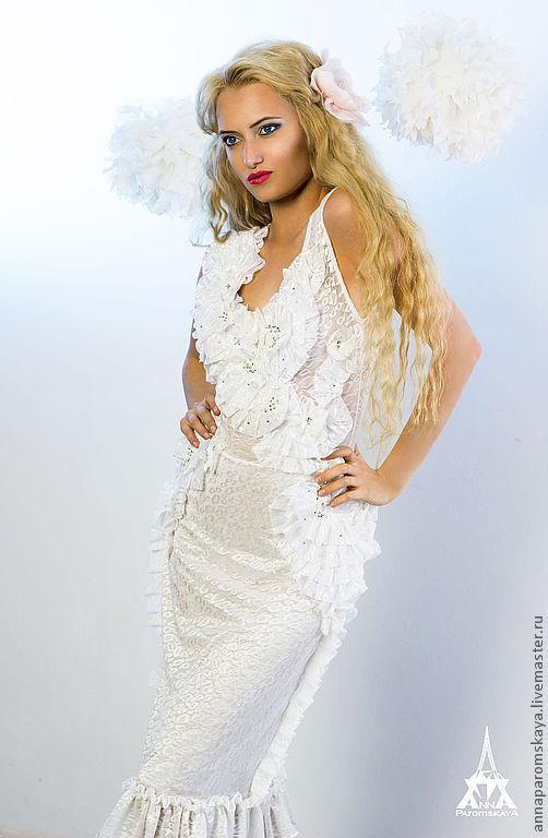 Платья ручной работы. Ярмарка Мастеров - ручная работа. Купить Платье. Handmade. Белый, платье с рюшами, платье со стразами