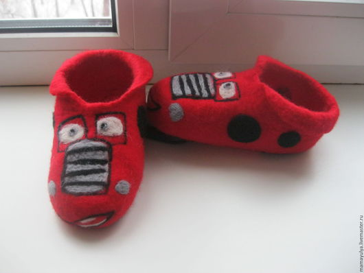 """Обувь ручной работы. Ярмарка Мастеров - ручная работа. Купить Тапочки детски """"Тачки"""". Handmade. Комбинированный, тапочки валяные, тачки"""