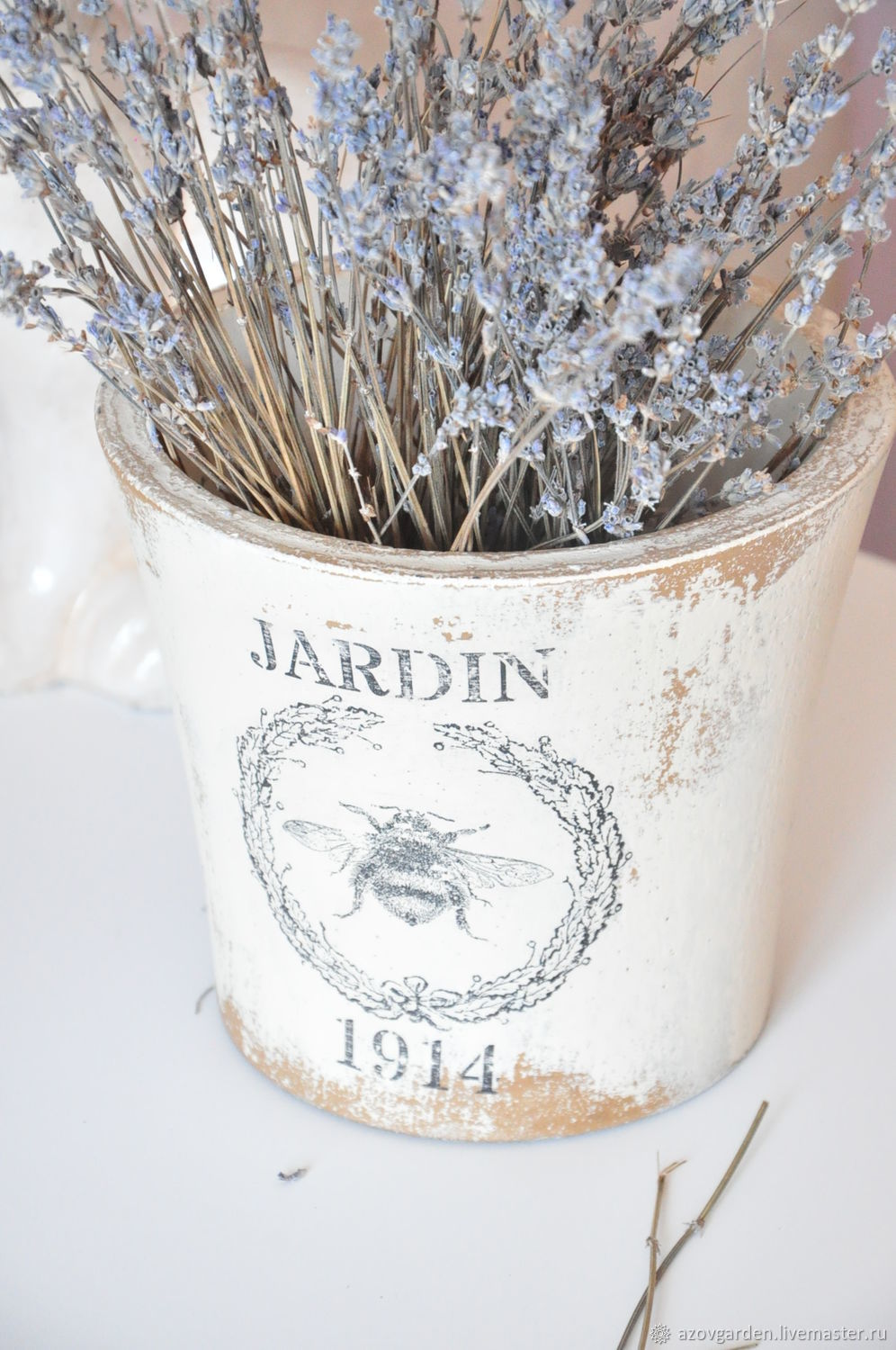 Pot with decoupage in the style of Provence Vintage Shabby Country, Pots, Azov,  Фото №1