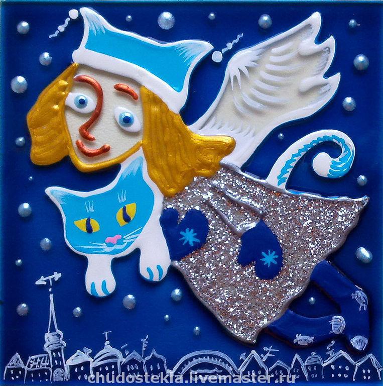 """Новый год 2019 ручной работы. Ярмарка Мастеров - ручная работа. Купить Магнит """"Ангел над городом"""". Handmade. Ангел, котик"""
