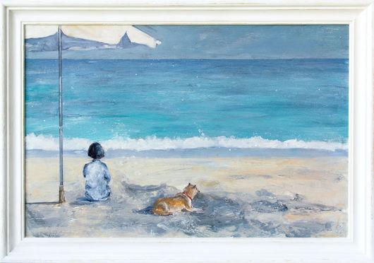 Пейзаж ручной работы. Ярмарка Мастеров - ручная работа. Купить Море весною (с рамой). Handmade. Бирюзовый, песочный, девушка