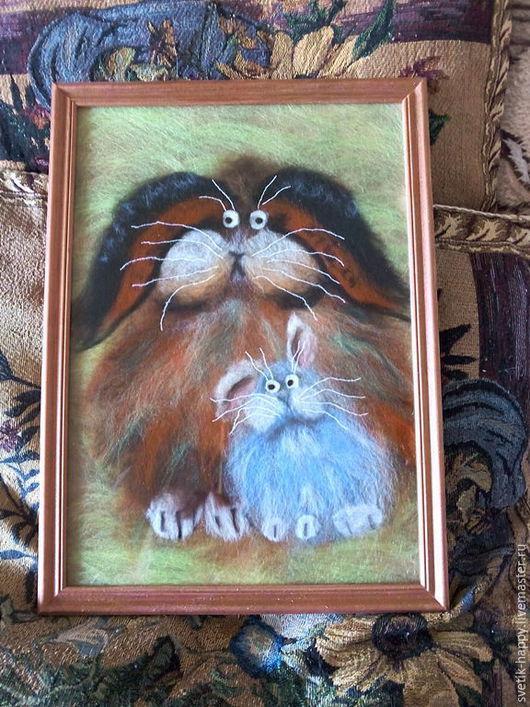 """Детская ручной работы. Ярмарка Мастеров - ручная работа. Купить картина шерстяная акварель """"Семья кроликов"""". Handmade. Разноцветный"""