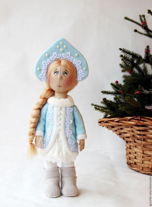 Коллекционные куклы ручной работы. Ярмарка Мастеров - ручная работа. Купить Снегурочка. Коллекционная текстильная кукла.. Handmade. Голубой