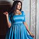 """Платья ручной работы. Ярмарка Мастеров - ручная работа. Купить Для Вас! Атласное платье """"Мальвина"""". Handmade. Голубой, бант"""