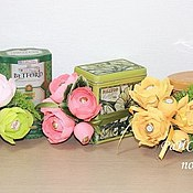 Цветы и флористика ручной работы. Ярмарка Мастеров - ручная работа Чай, оформленный цветами и конфетами. Handmade.