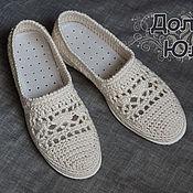 """Обувь ручной работы. Ярмарка Мастеров - ручная работа Мокасины  """"Лето в ажуре"""" / вязаная обувь. Handmade."""