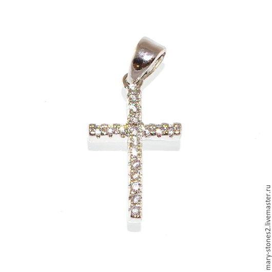 Для украшений ручной работы. Ярмарка Мастеров - ручная работа. Купить Подвеска крест с фианитами, серебро (Milano). Handmade.