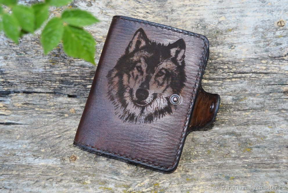 Leather, personalized, vintage wallet №16, Wallets, Sizran,  Фото №1