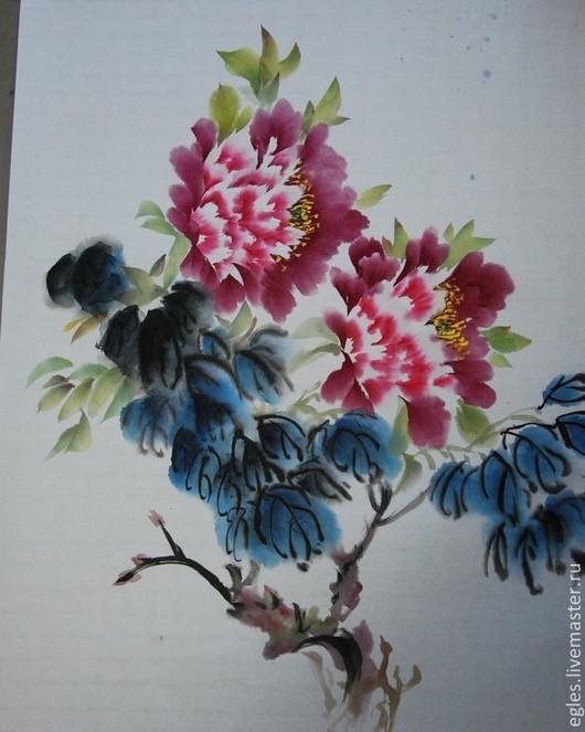 Картины цветов ручной работы. Ярмарка Мастеров - ручная работа. Купить Пион.. Handmade. Бордовый, китайская живопись, гохуа