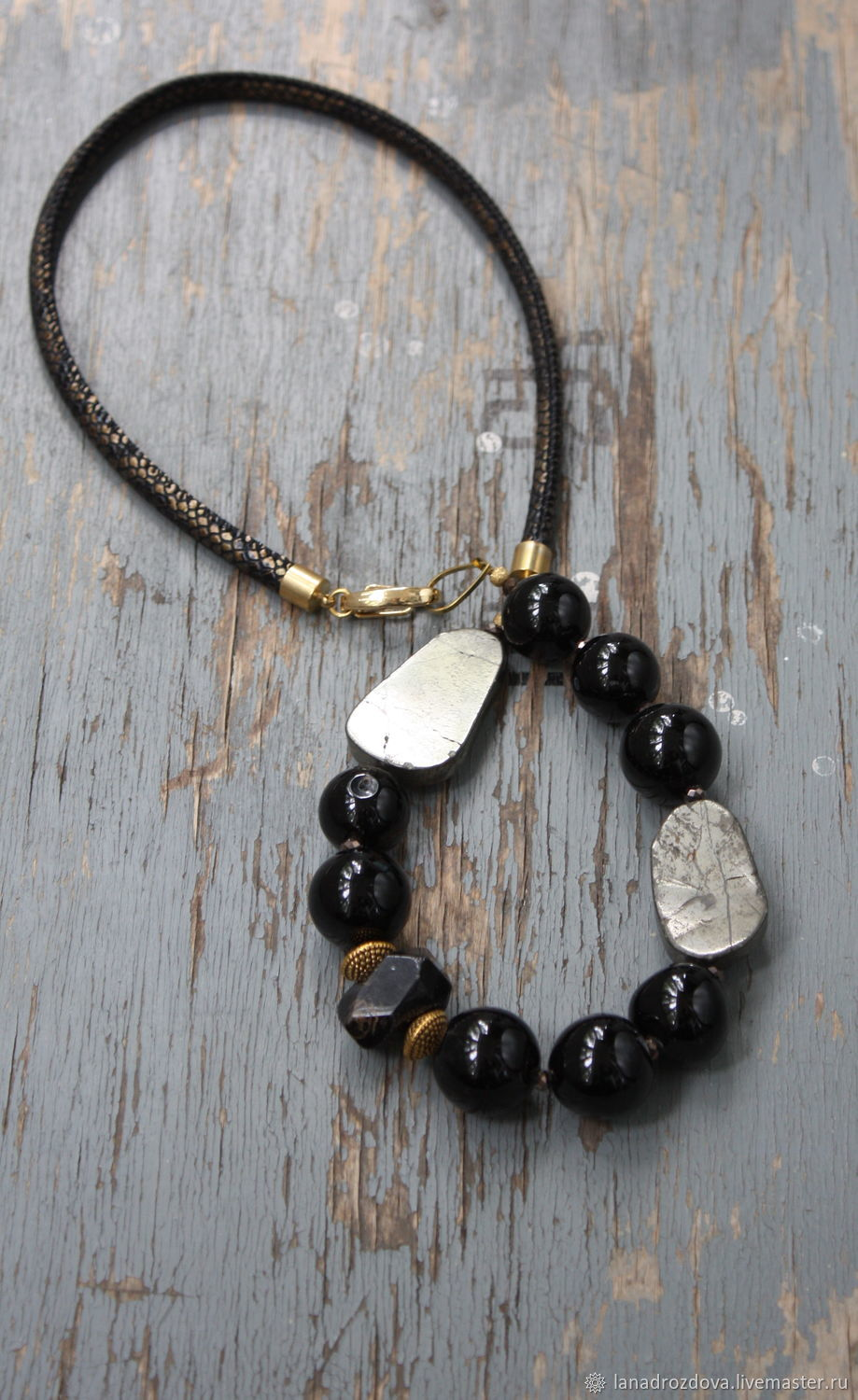 Necklace 'Manifest' of pyrite agate pomegranate, Necklace, Almaty,  Фото №1