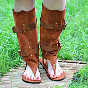 Обувь ручной работы handmade. Livemaster - original item sandals boots of red suede summer. Handmade.