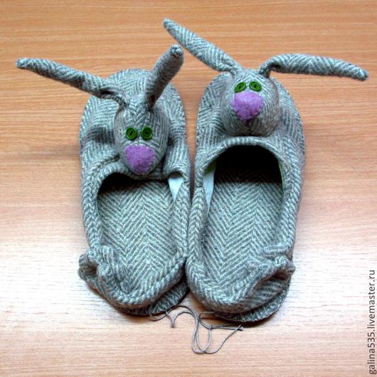Обувь ручной работы. Ярмарка Мастеров - ручная работа. Купить Тапки зайцы. Тапки домашние женские. Handmade. тапки зайцы