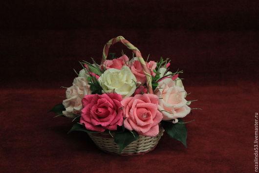 """Букеты ручной работы. Ярмарка Мастеров - ручная работа. Купить Корзинка """"Розовая нежность"""". Handmade. Розовый, день рождения"""