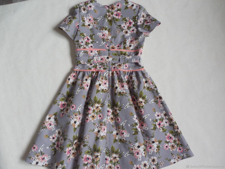Сестренкам. Платье  в цветочек. Рост 130