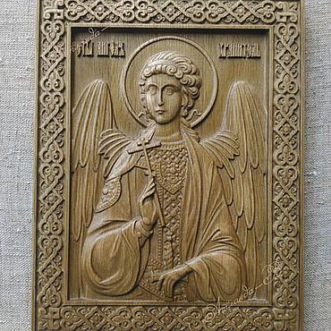 Картины и панно ручной работы. Ярмарка Мастеров - ручная работа Ангел Хранитель - резная икона из дерева (дуб). Handmade.