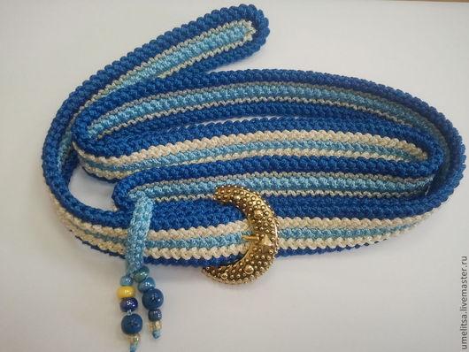 Ремень 3-х рядный, синий-жетлый-голубой. Пряжка под золото.