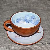 Чайные пары ручной работы. Ярмарка Мастеров - ручная работа Чайная пара Зимний  пейзаж. Handmade.