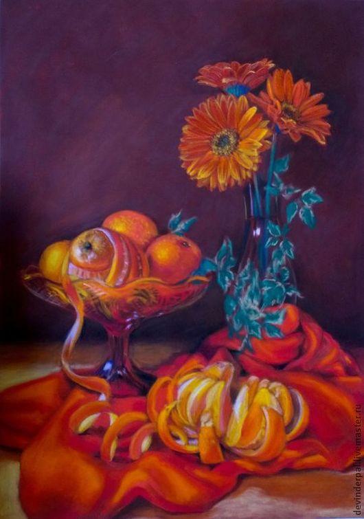 Натюрморт ручной работы. Ярмарка Мастеров - ручная работа. Купить Апельсиновое настроение. Handmade. Герберы, оранжевый, натюрморт с фруктами